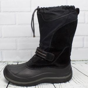 LL Bean Black Felt Lined Winter Boots Size 7